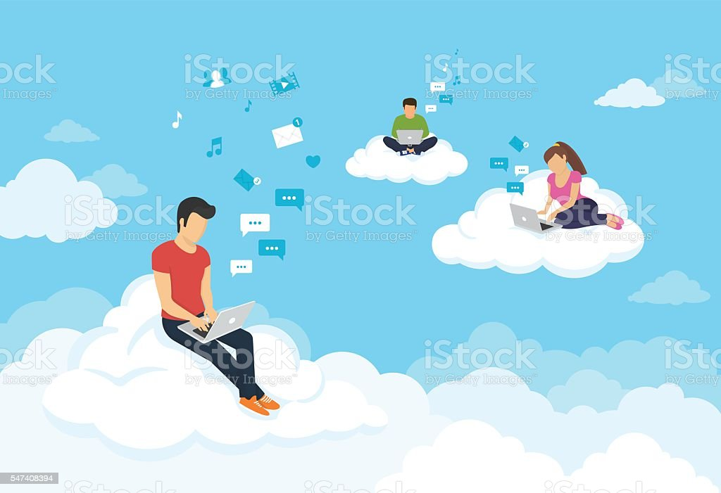 People sitting on the clouds in sky and using laptops vector art illustration