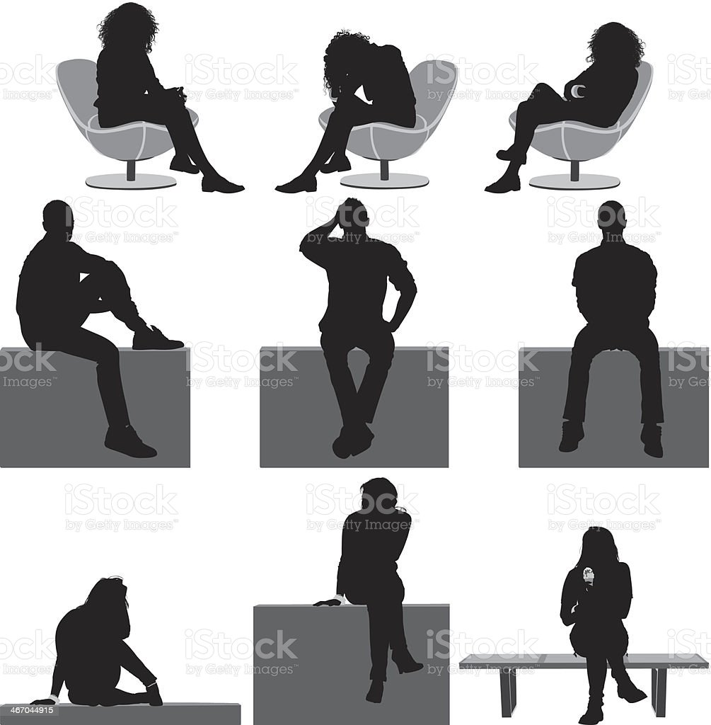 People sitting vector art illustration