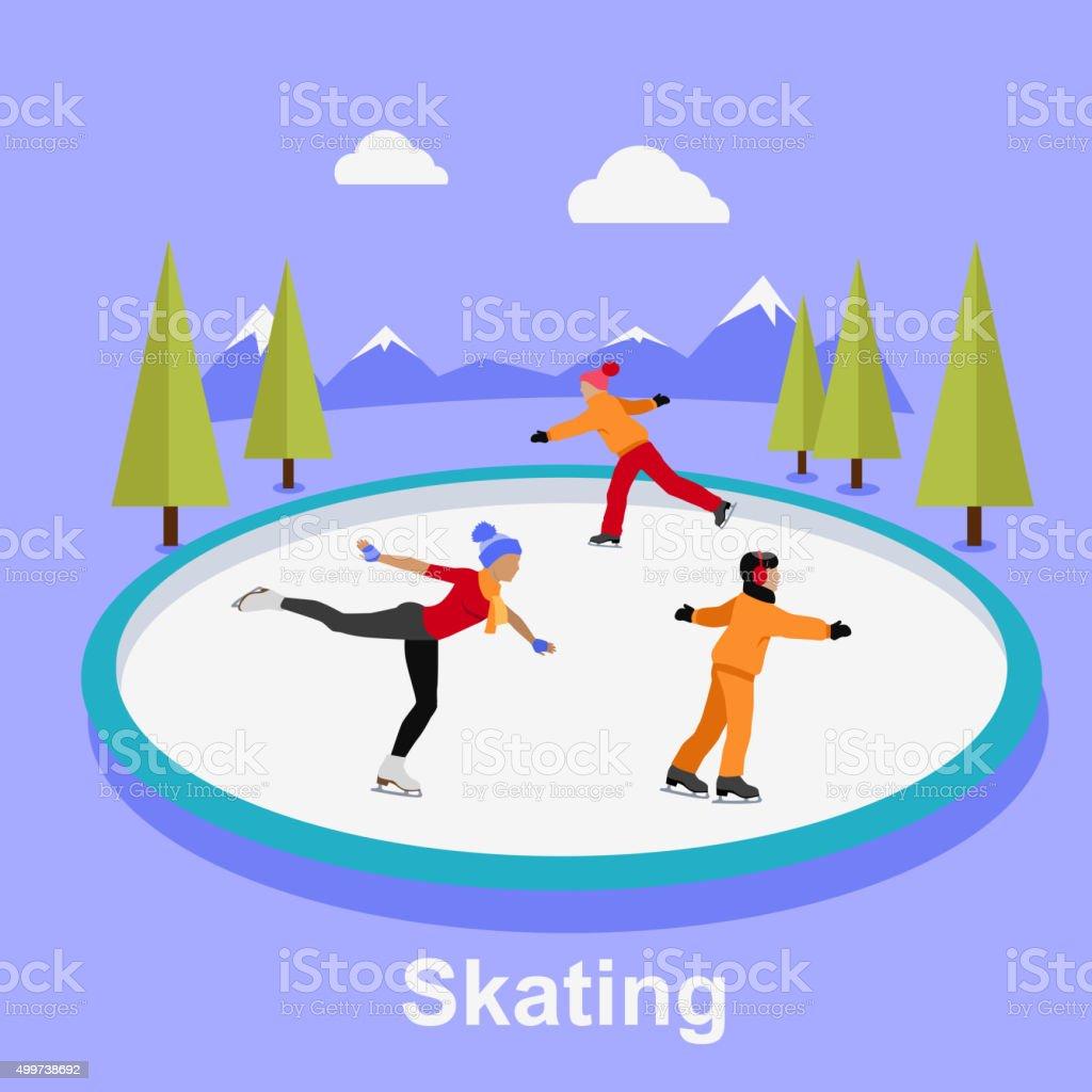 People Skating Flat Style Design vector art illustration