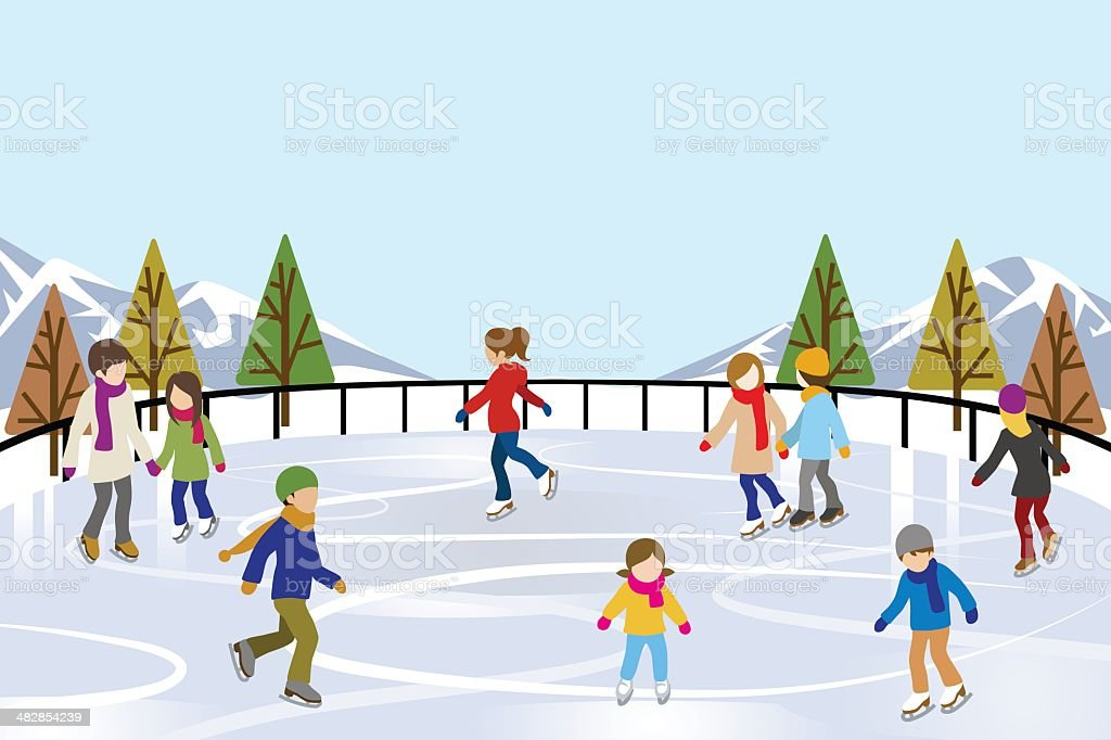 People Skating in nature Ice Rink vector art illustration