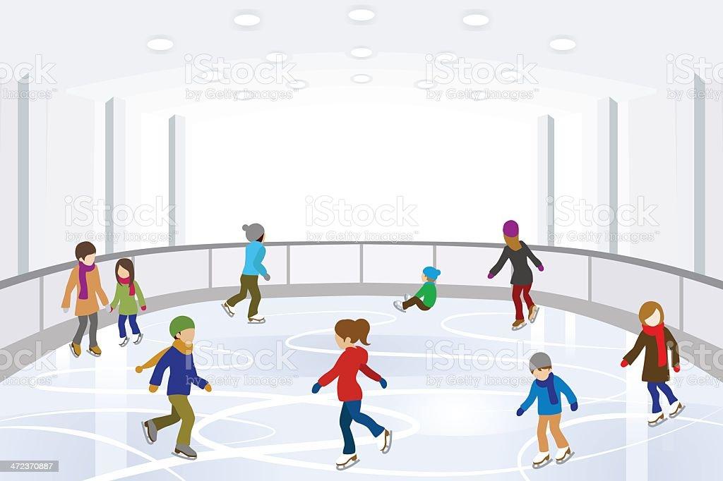 People Skating on indoor Ice Rink vector art illustration