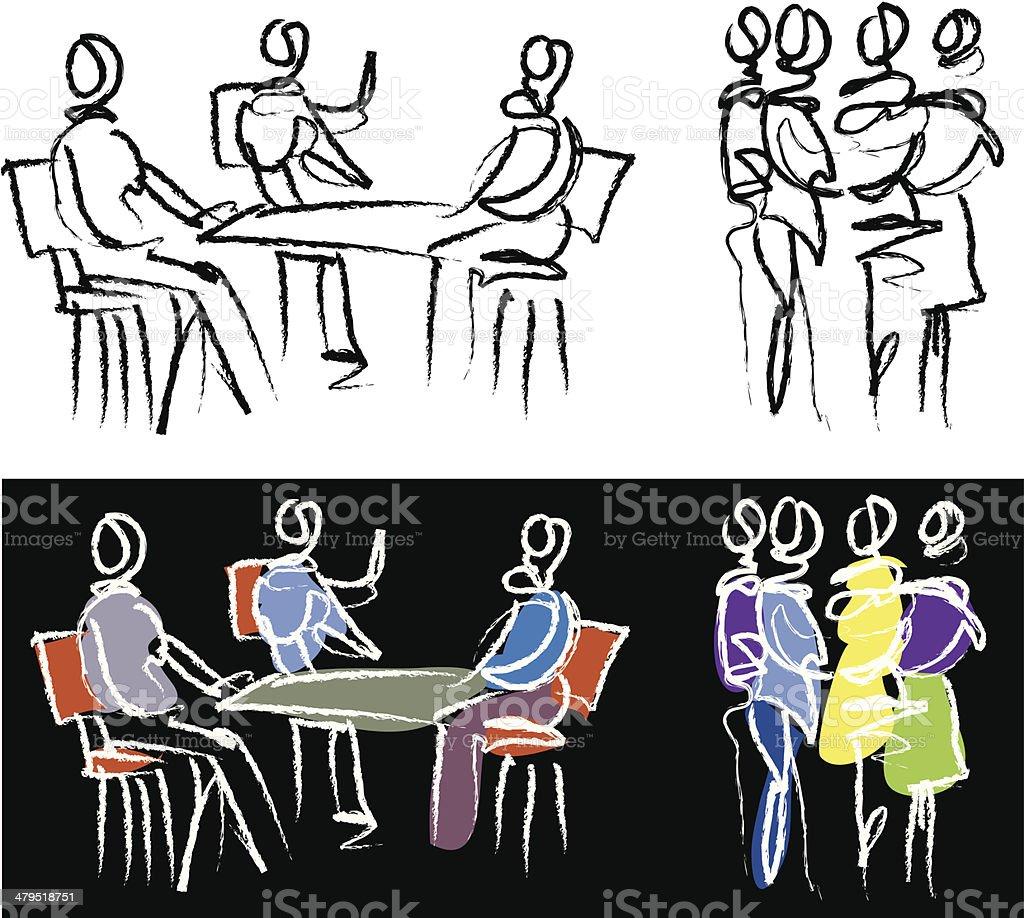 People sketch - meeting royalty-free stock vector art