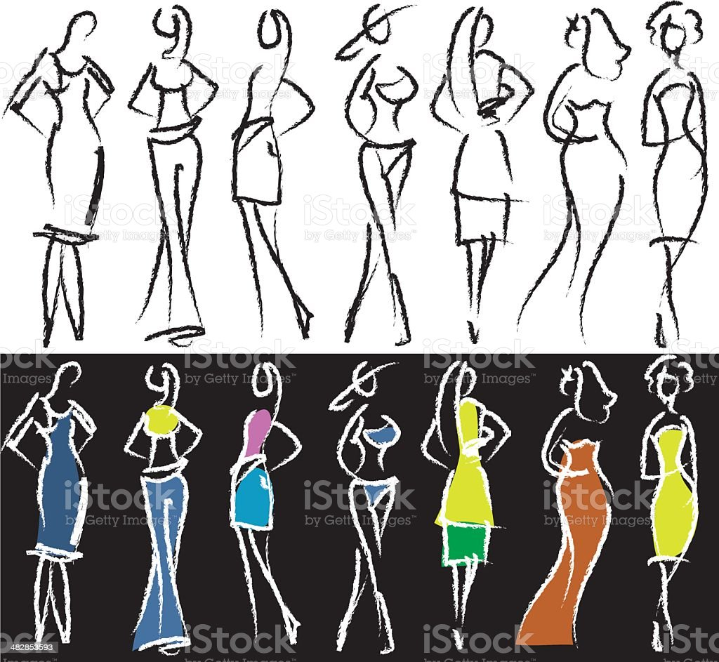 People sketch - models vector art illustration