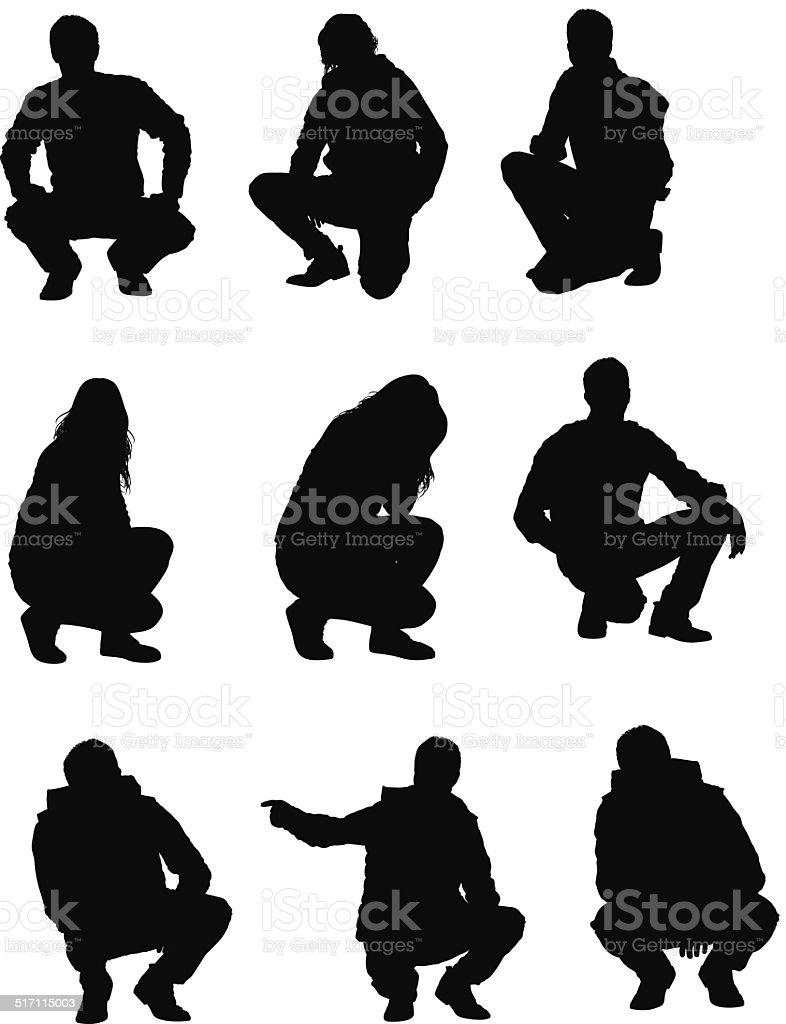 People squatting vector art illustration