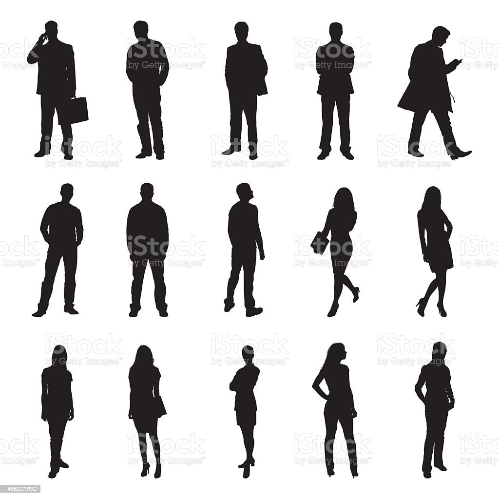People Standing Black Silhouette Vector Illustrations vector art illustration