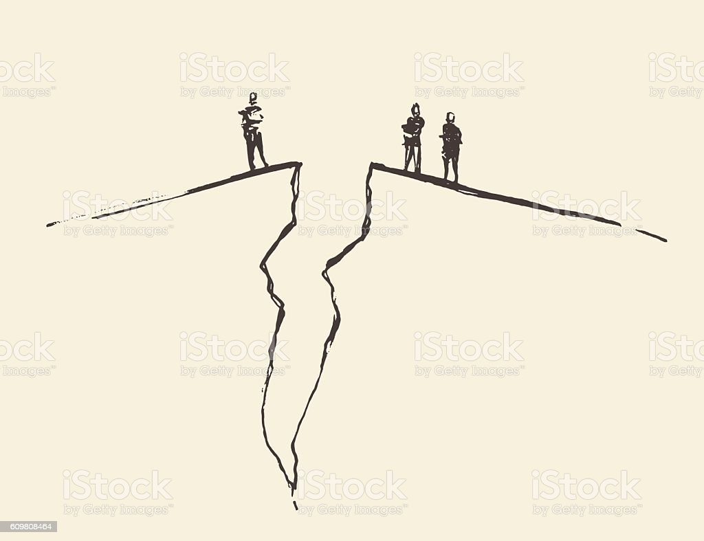 People standing cracked ground. Concept vector. vector art illustration