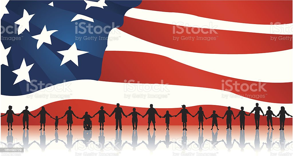 People Standing United with American Flag Backdrop royalty-free stock vector art