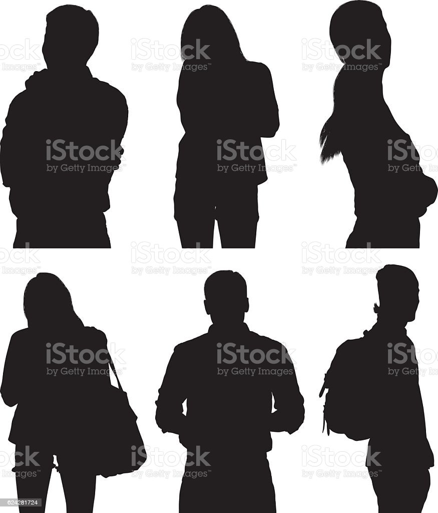 People standing with various action vector art illustration