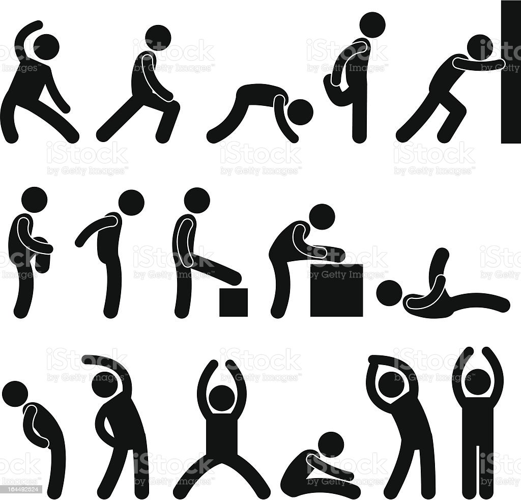 People Stretching Exercise Pictogram vector art illustration