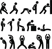 People Stretching Exercise Pictogram