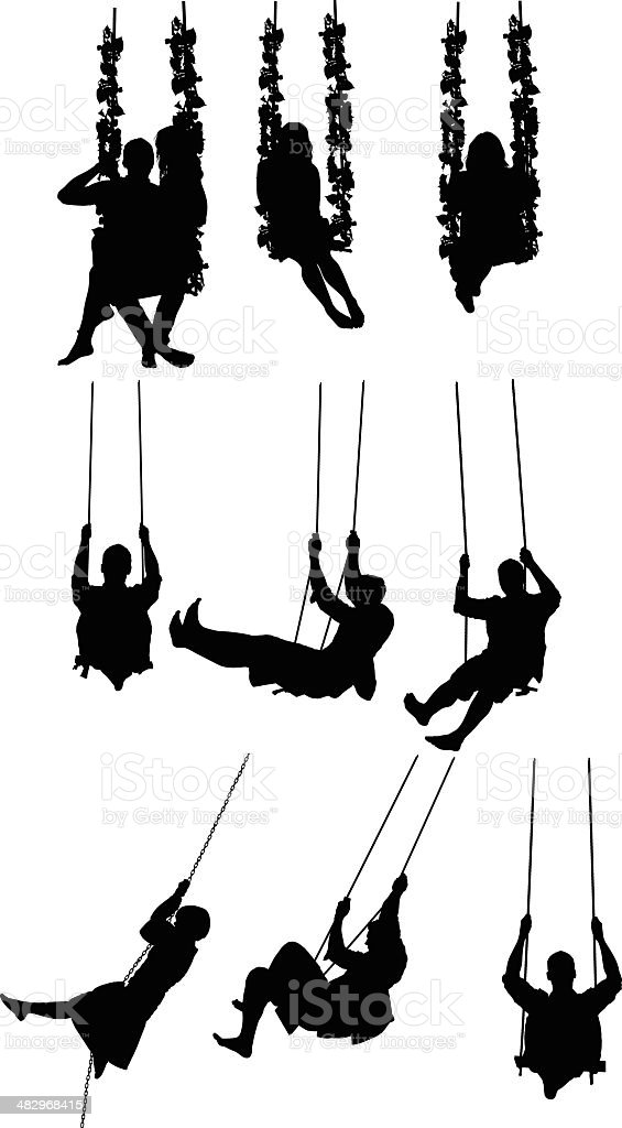 People swinging on rope swing royalty-free stock vector art