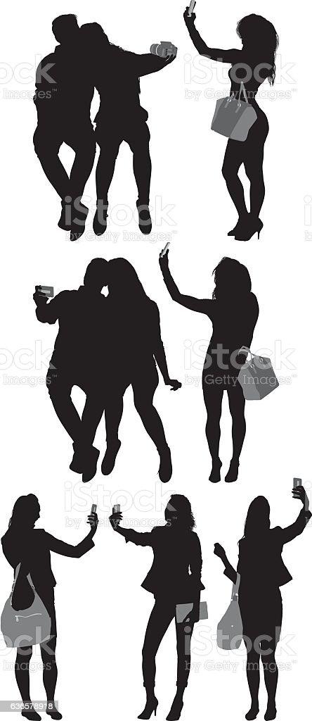 People taking a selfie vector art illustration