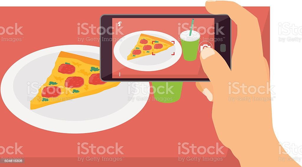 People taking food pictures with smart phone vector art illustration