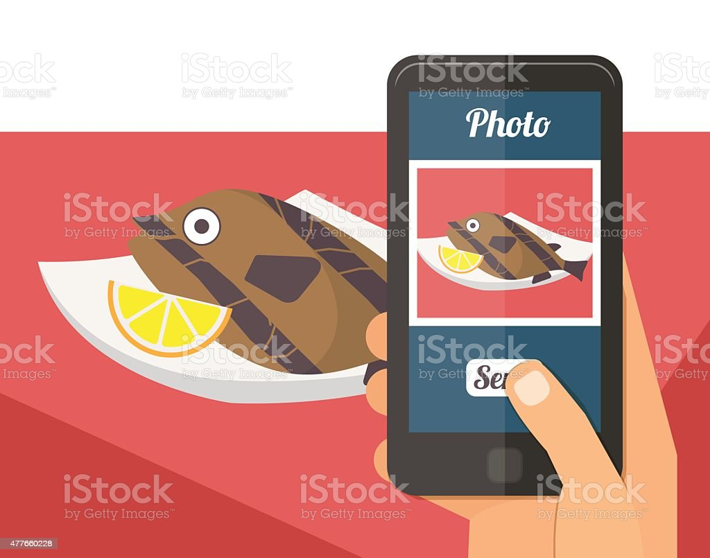 People taking photo of their food vector art illustration
