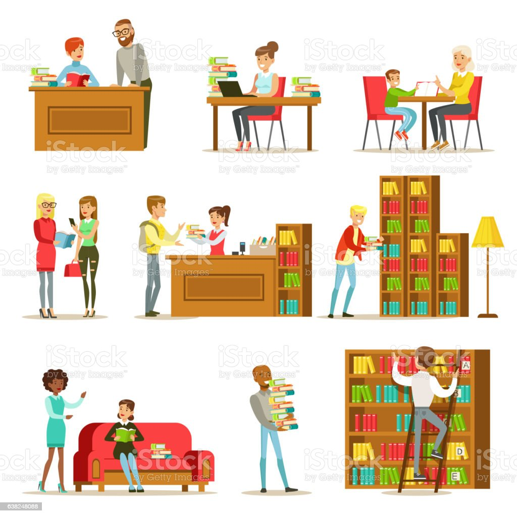 People Talking And Reading Books In Library Set Of Illustrations vector art illustration