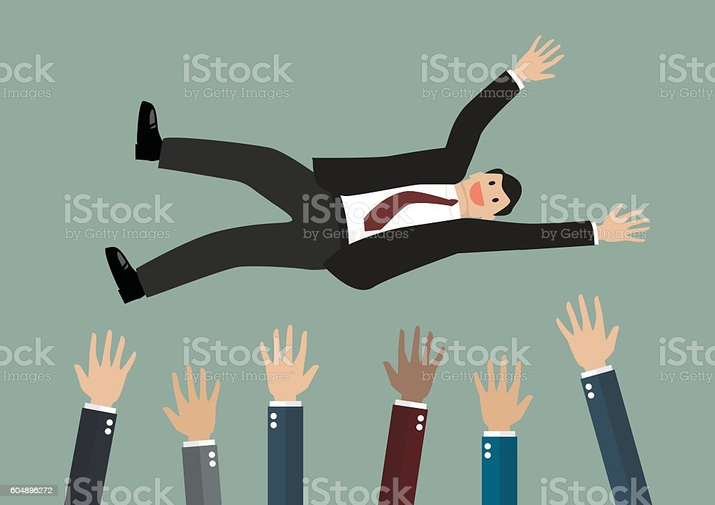 People throw a businessman in the air vector art illustration