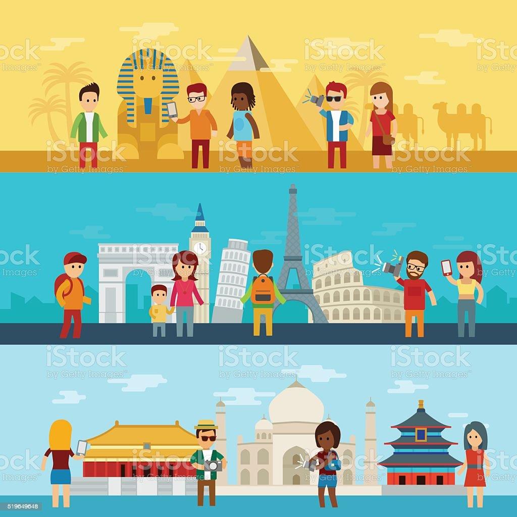 People travel around world vector art illustration