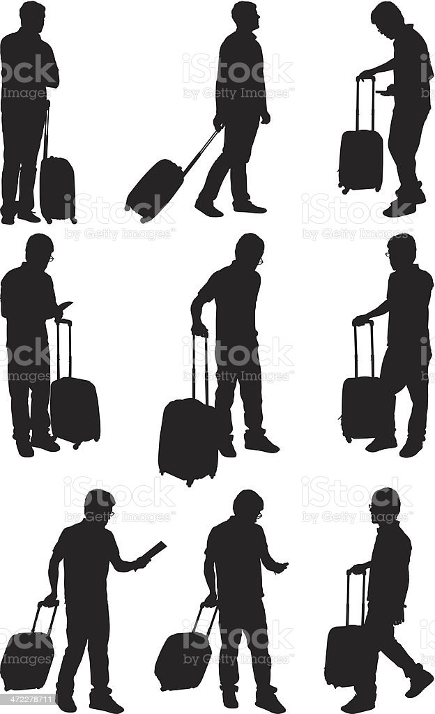 People traveling with carry on luggage vector art illustration