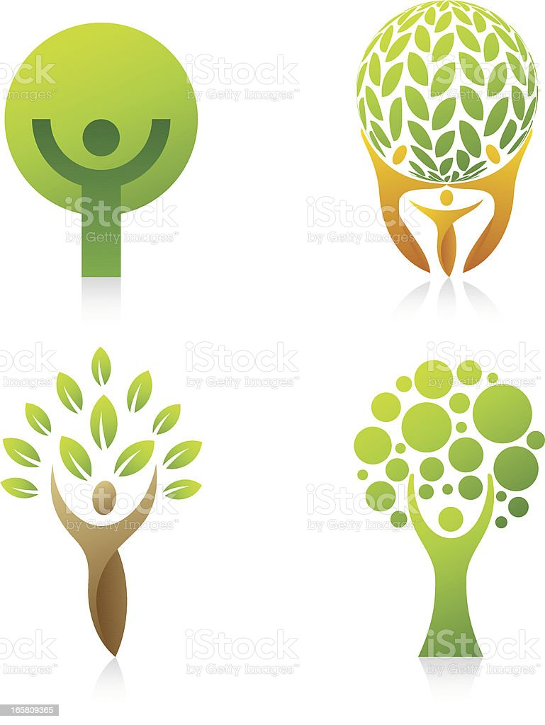 People Tree | set 2 vector art illustration