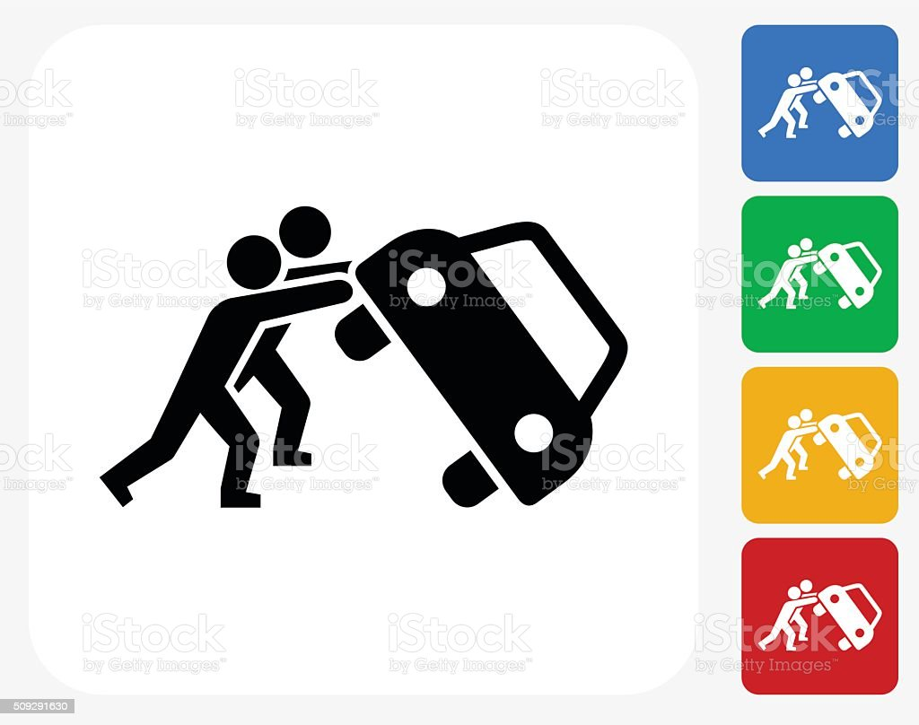 People turning car protest Icon Flat Graphic Design vector art illustration