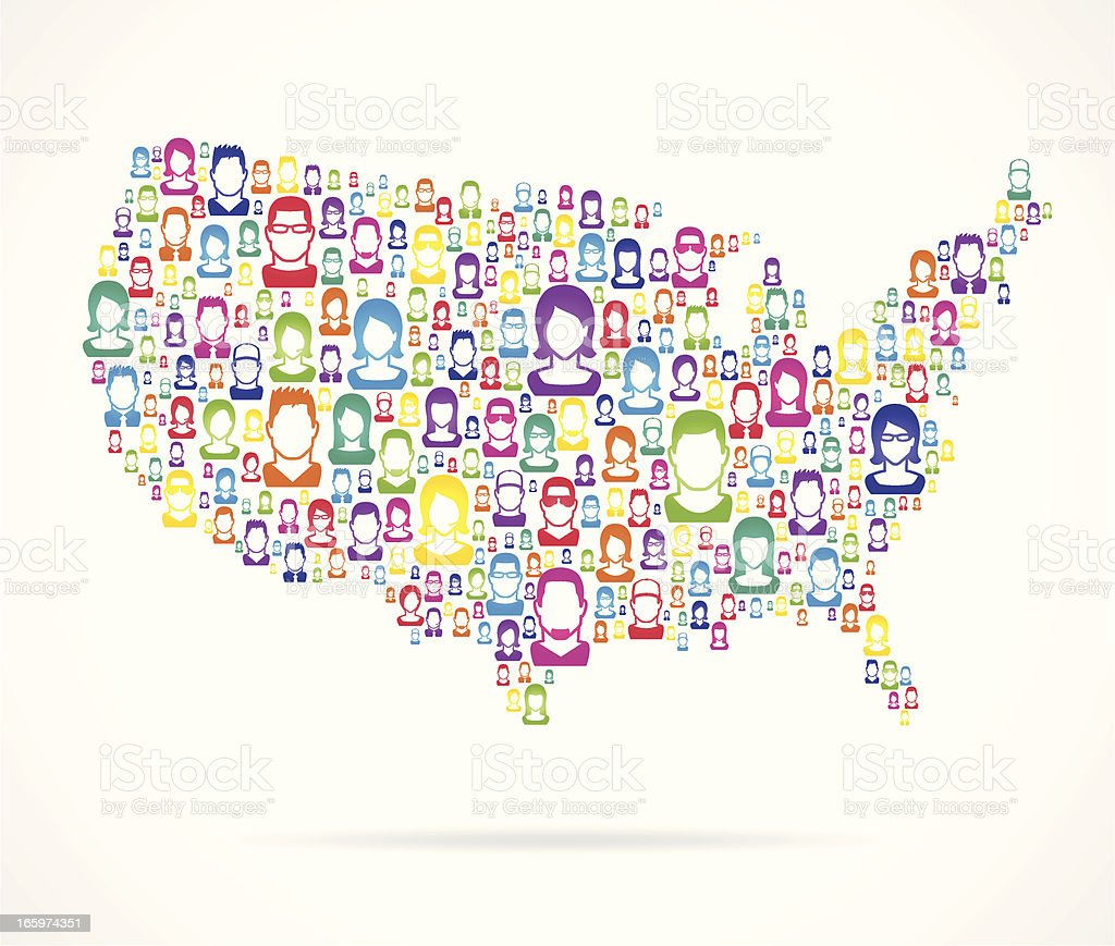 People USA Map royalty-free stock vector art