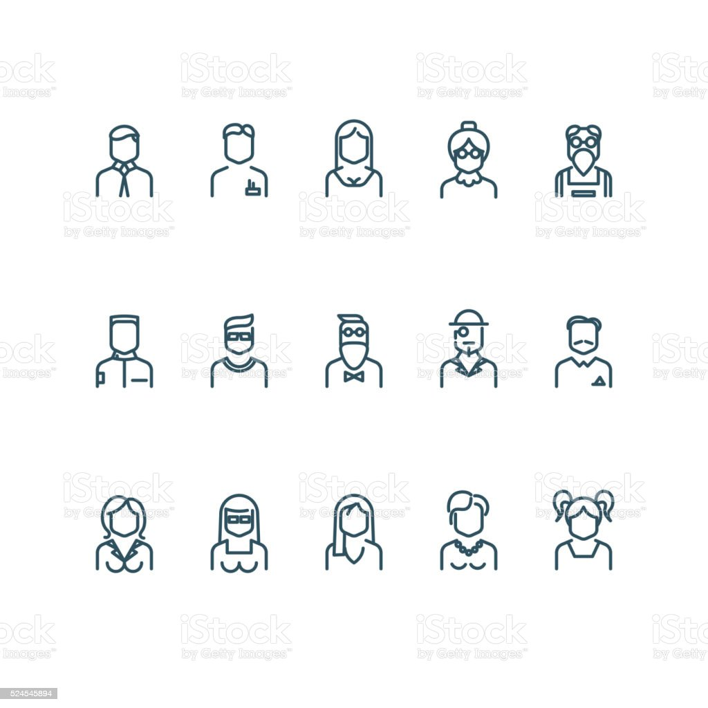 People, user profile vector line icons vector art illustration