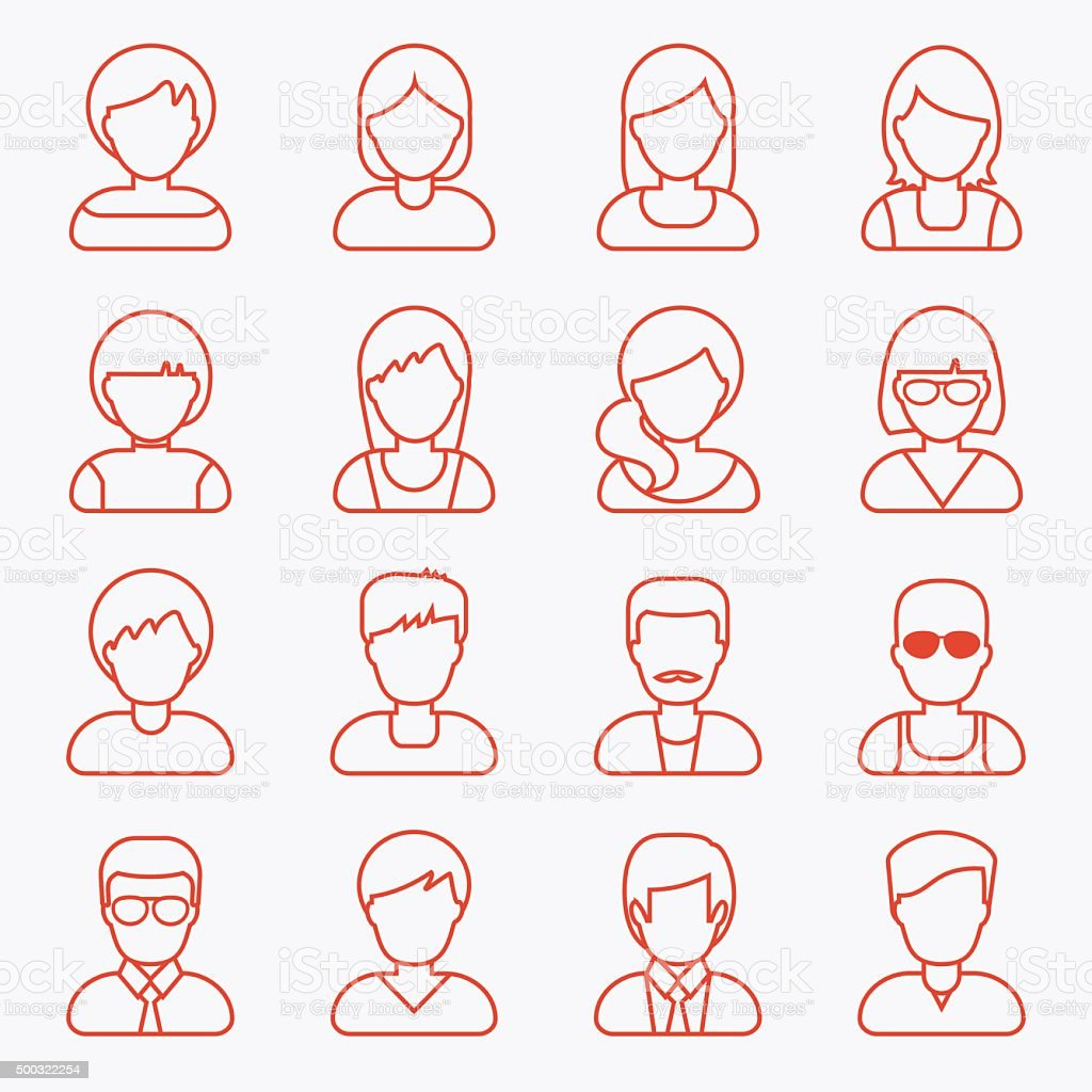 People userpics line icons vector art illustration