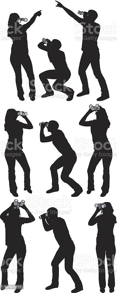 People using binoculars royalty-free stock vector art