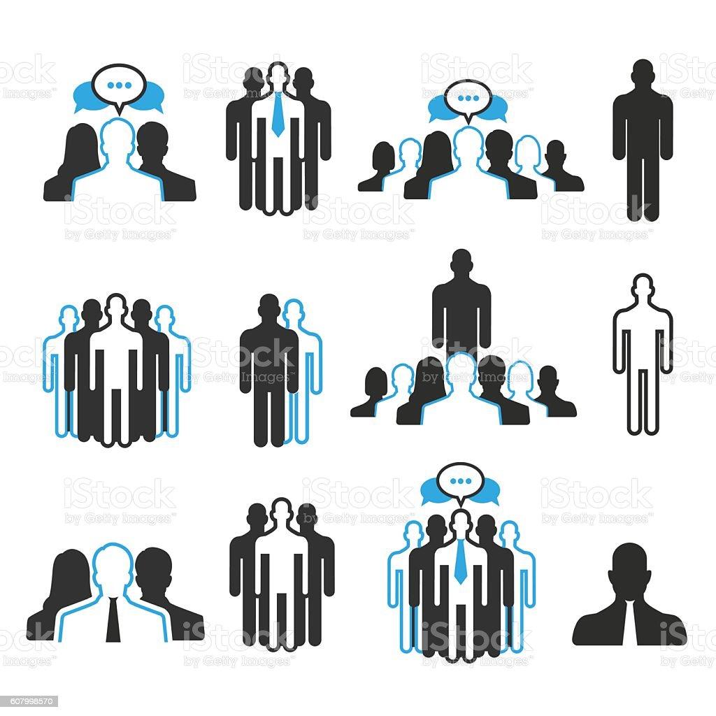 People vector icon set vector art illustration