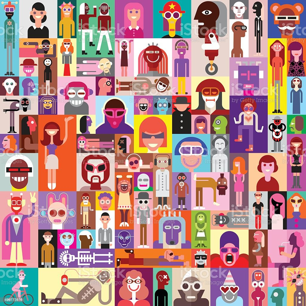 People vector art illustration