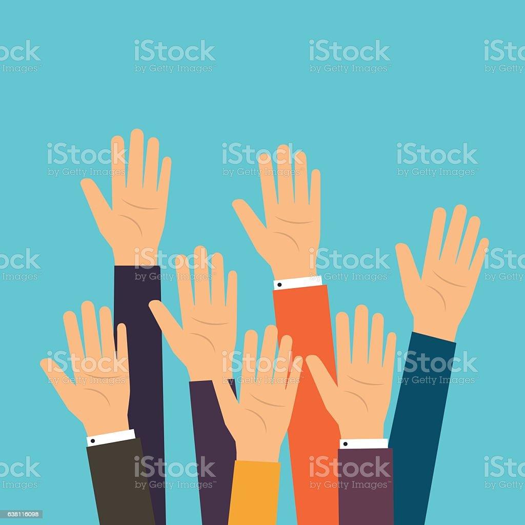 People vote hands. Raised hands volunteering. vector art illustration