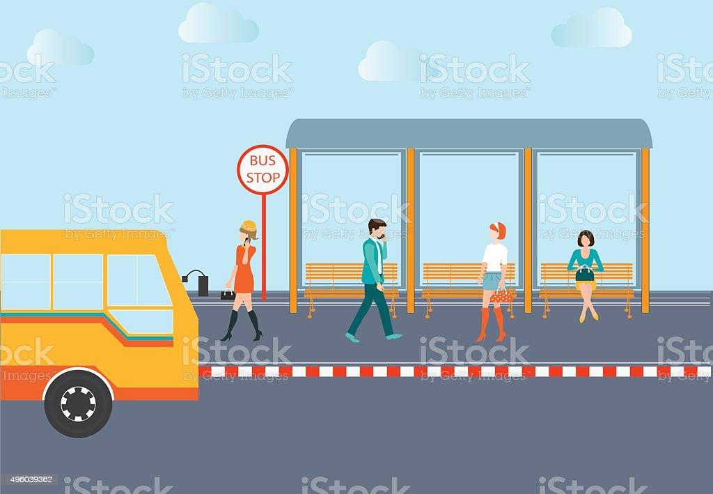 People waiting for a bus. vector art illustration