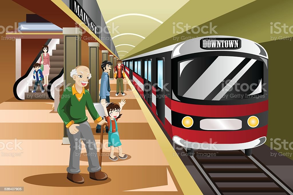 People waiting in a train station vector art illustration