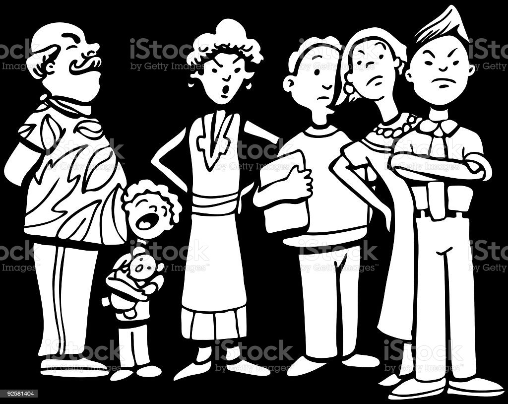 People Waiting in Line Black White royalty-free stock vector art