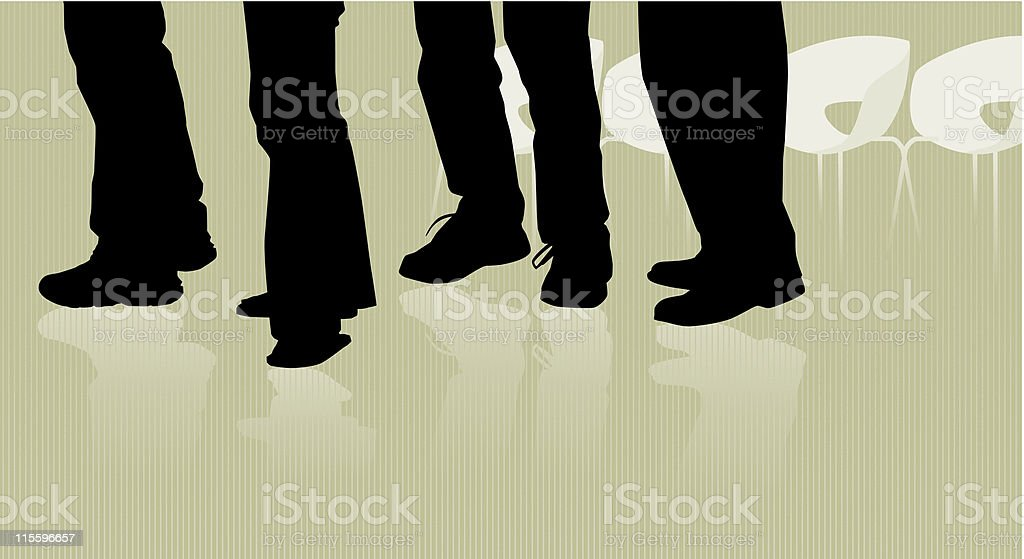 People Waiting in Line vector art illustration