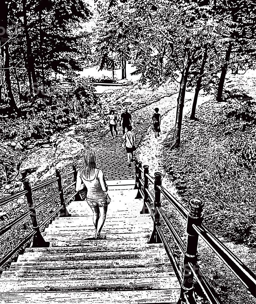 People Walking In a Beautiful Metro Park vector art illustration