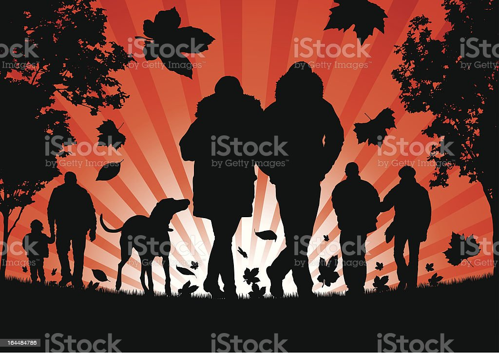 People walking in the Autumn Leaves royalty-free stock vector art