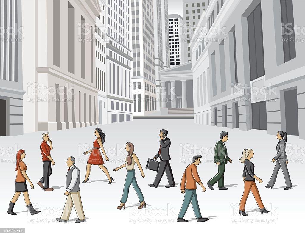 people walking on the street vector art illustration