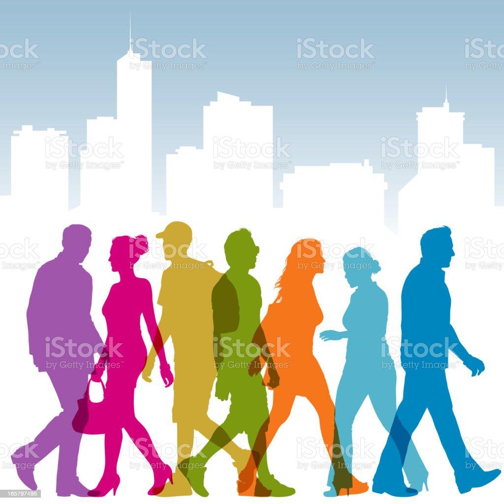 People Walking Silhouettes vector art illustration