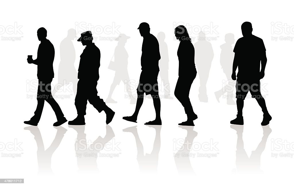 People walking silhouettes vector art illustration