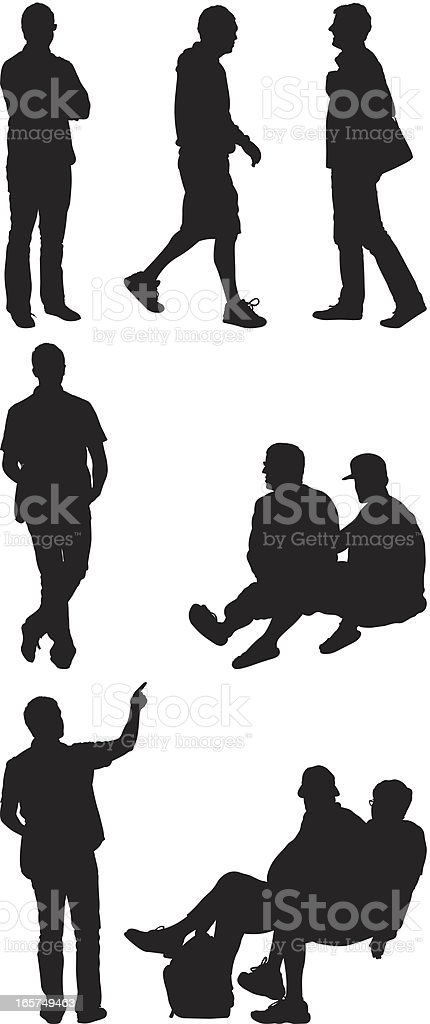 People walking standing sitting vector art illustration