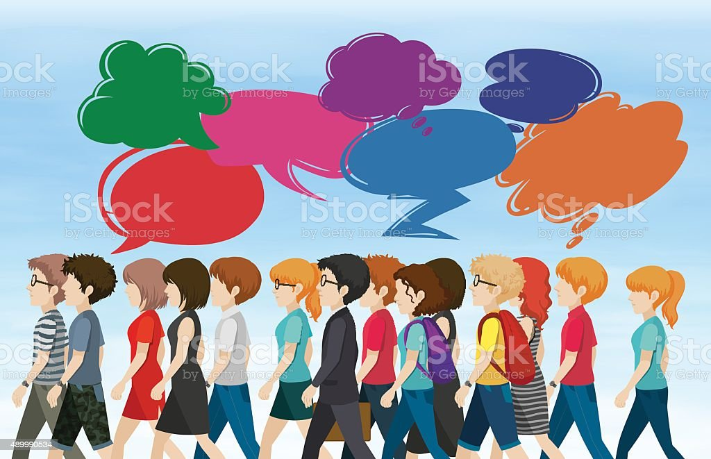People walking with bubble speeches vector art illustration