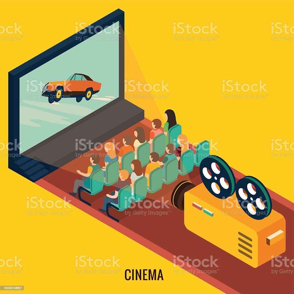 People watching movie in cinema theater. vector art illustration