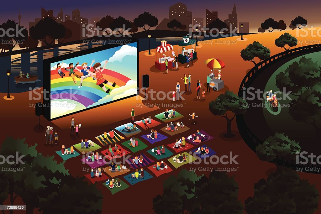 People watching outdoor movie in a park vector art illustration