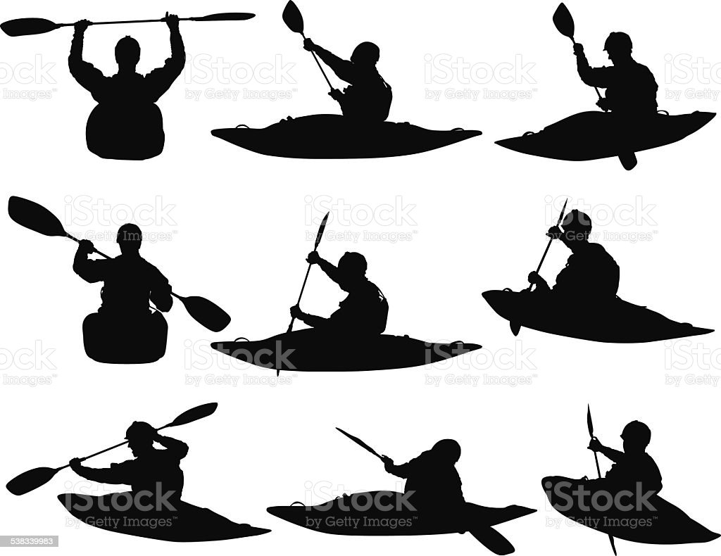 People water rafting vector art illustration