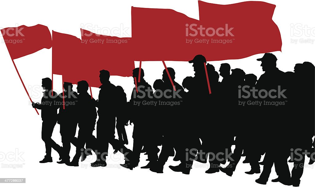 People whit big flags vector art illustration