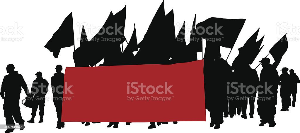 People whit flags vector art illustration