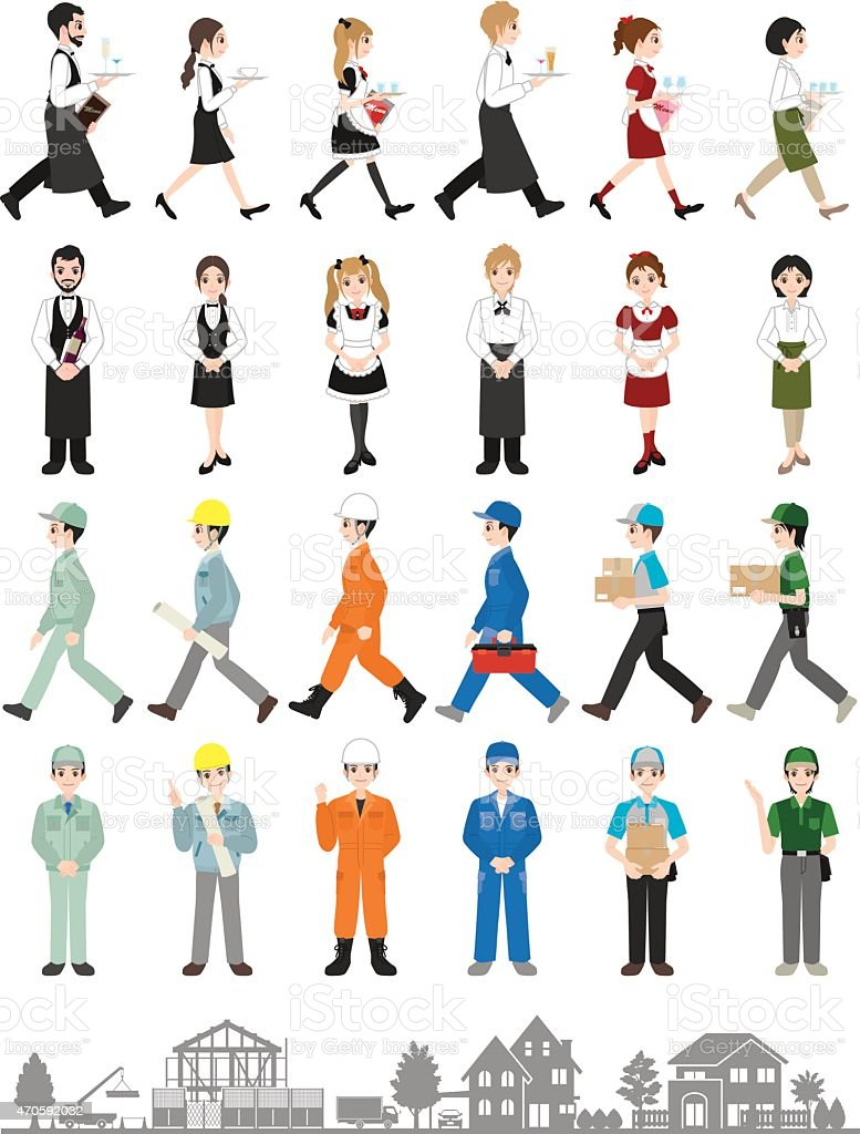 People who work vector art illustration