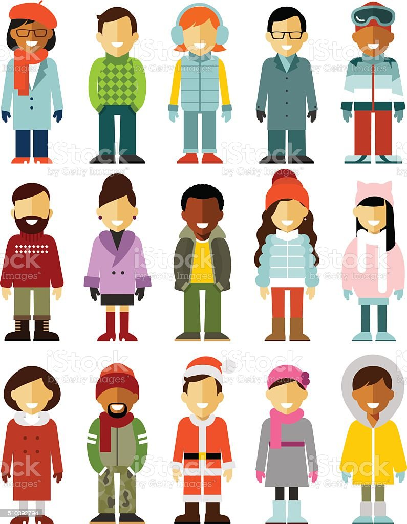 People winter characters stand set isolated on white background vector art illustration