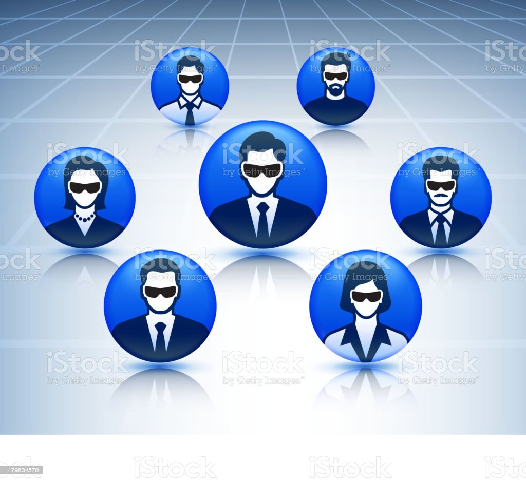 People with 3D Glasses Virtual Reality Experience Icon Set vector art illustration